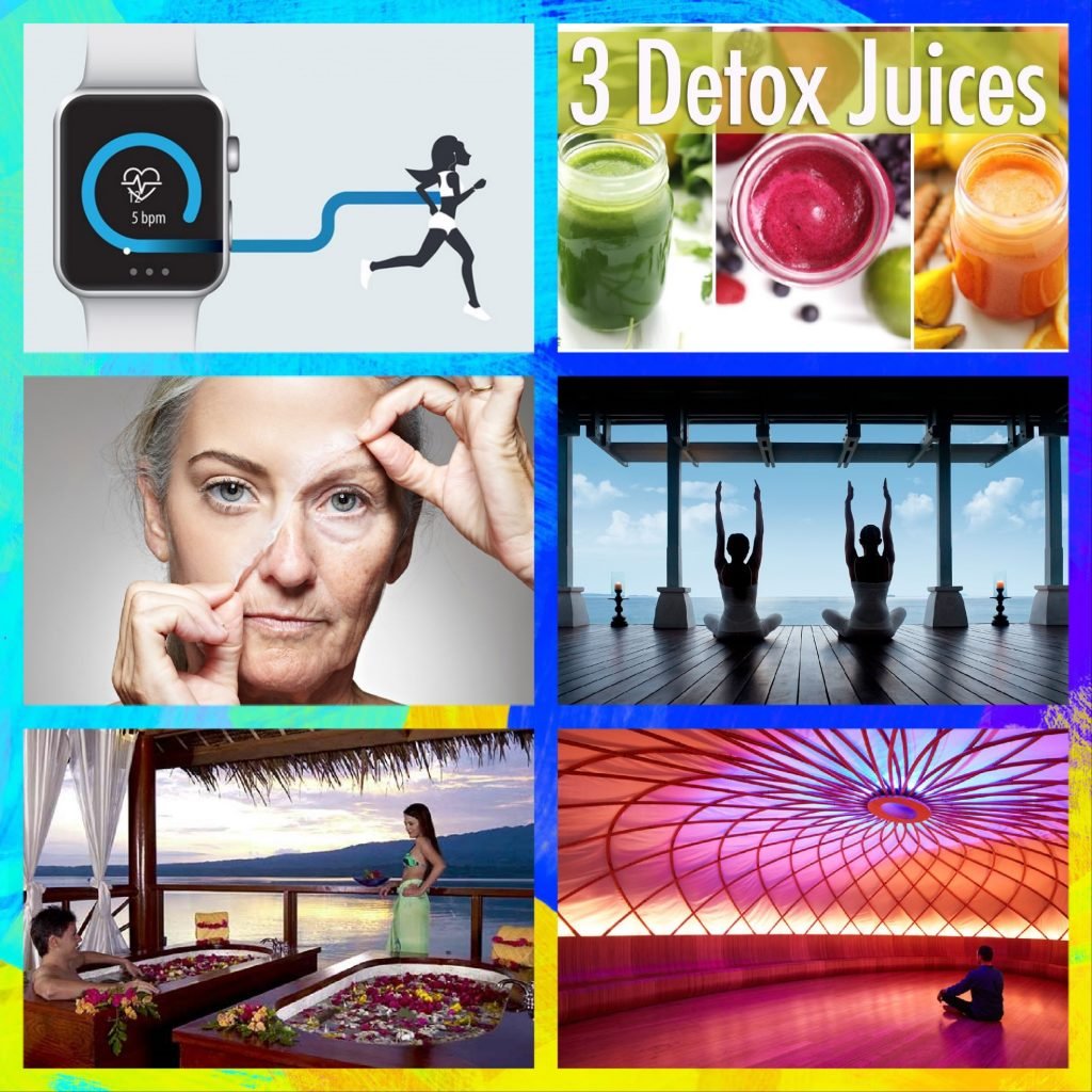 Examples of glamourization of wellness industry - tracking gadgets, juice bars, anti-ageing products, sleek meditation studios and fancy wellness resorts.