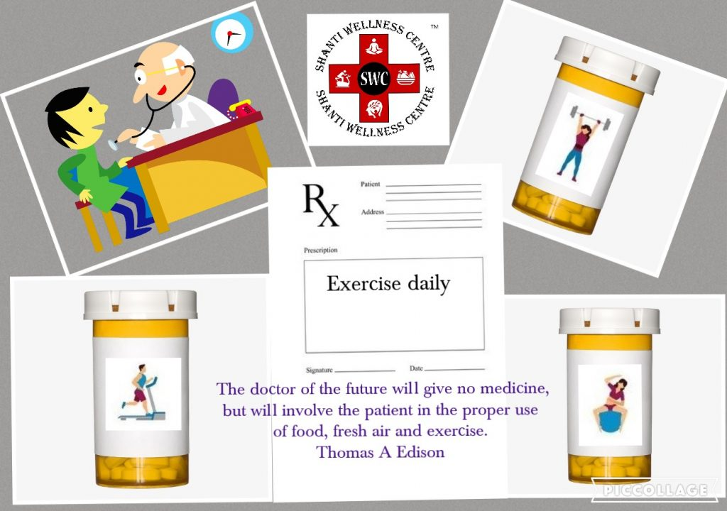 The image depicts a doctor advising a patient to exercise regularly.