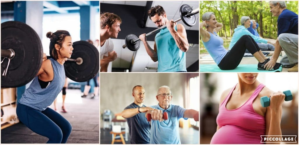 People of various categories doing weight training.