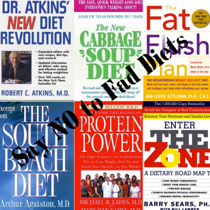 The image depicts fronts covers of various diet books with a caption 'Say No to Fad Diets'.