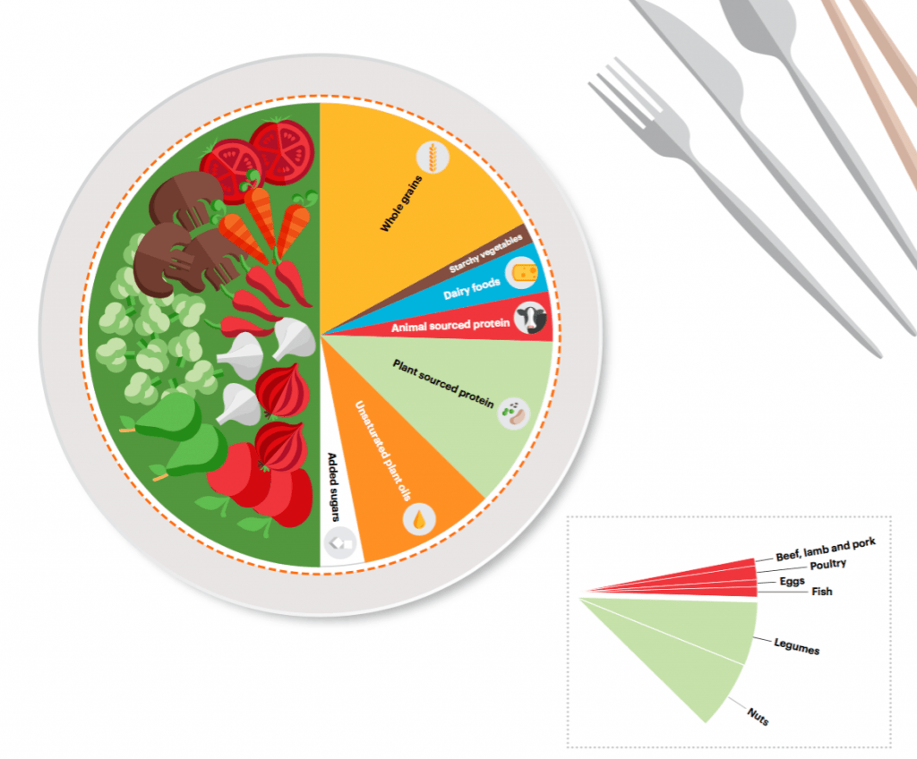 'Planetary health plate' depiction of EAT-Lancet Commission for healthful eating.