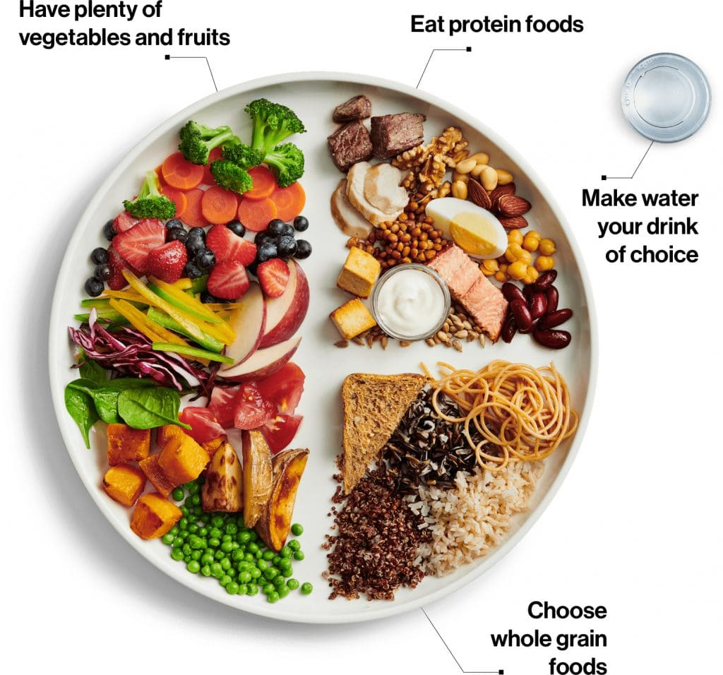 Depiction of Canada's Dietary Guidelines of a healthy diet.
